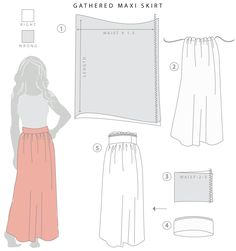 Maxi tutorial - plain maxi and a ruffled waist. Has all directions including drafting and yoga waist band.stretch yourself gathered maxi skirt Drafting and Sewing a Maxi Skirt // Stretch Yourself Diy Clothing, Sewing Clothes, Clothing Patterns, Sewing Patterns, Sewing Hacks, Sewing Tutorials, Sewing Projects, Sewing Diy, Sewing Ideas
