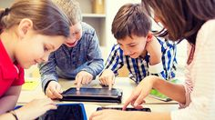 education, elementary school, learning, technology and people concept - group of school kids with tablet pc computer having fun on break in classroom - stock photo Education Quotes For Teachers, New Teachers, Teacher Blogs, Education English, Elementary Education, Physical Education, Blended Learning, Digital Trends, Educational Technology