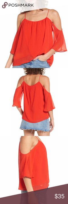 """Layered Cold Shoulder Top Lightly crinkled fabric and a layered tulip Hem lend a floaty romantic feel to this shoulder flaunting top, perfect hot red for Fall/Winter. Approx measurements: length-22""""..small: fits size 2-4,med: 6-8, large: 10-12... runs small so size up Tops"""