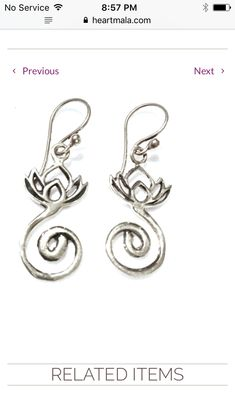 ✨These beautiful Lotus Spiral sterling silver plated Earrings are 2.8cm long and have sterling silver earring hooks. <>$35<>  The creation spiral as the stem of this sacred charm symbolizes powerful awakening Kundalini life force energy, creating infinite bliss, healing and opening us to divine wisdom and self realization... more at 💕~heartmala.com~ 💕 #LifeForceEnergyTheBody