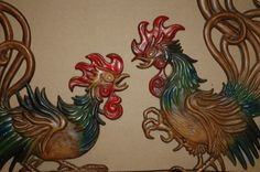Vintage Vermay Fighting Cock Wall Hangings by PatchHappyPauper,