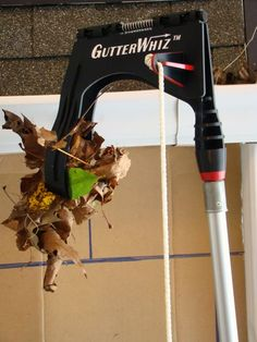 "Hate Cleaning Gutters?  GutterWhiz--Makes a tough job easier and safer with no ladder needed. Wet or dry, it does it all--leaves, pine needles, toys and balls.  (Pole sold separately to suit gutter height.)   Take videos or photos of your gutters with your smart phone--instructions included with unit. Also see special GutterWhiz Pole (6 ft to 12 ft) for all 1 to 1-1/2 story gutters or about 15 ft.  Buy GutterWhiz and Pole on Amazon.  Enter ""GutterWhiz"" in Amazon search box."