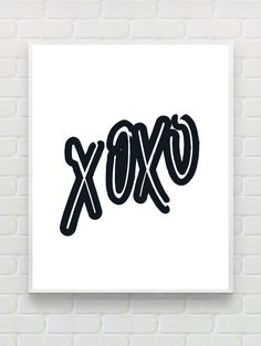 XO - Printable Scandinavian Poster, Typography Poster, Minimalist Print Black White Wall Art Hugs and Kisses Christmas Gift Ideas Home Decor
