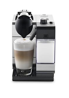 DeLonghi Silver Lattissima Plus Nespresso Capsule System DeLonghi   **Patented single touch hot milk system; simply slide the milk tank onto front of the machine; clean button makes it easy to maintain** **Convenient illuminated control panel buttons allow you to choose your favorite drink with ease, with 3 milk and 2 coffee selections** **Patented coffee capsule system** **Energy-saving with adjustable auto-off timer** **Accommodates latte cups with the unique sliding drip tray**
