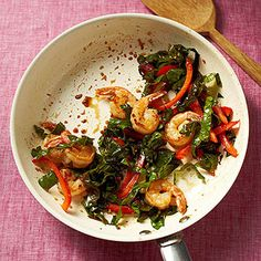 Ginger Shrimp with Swiss Chard and Bell Pepper #recipe