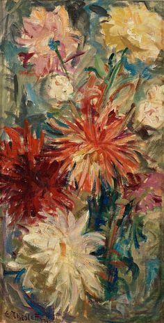 Still life with flowers by Ellen Thesleff, 1943 Still Life, Floral, Artwork, Flowers, Painting, Artists, Box, Paintings, Shop Signs