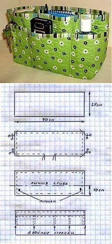 Easy to make DIY purse organizer!Easy to make DIY purse organizer! Purse Patterns, Sewing Patterns, Diy Sac, Bag Pattern Free, Craft Bags, Purse Organization, Quilted Bag, Fabric Bags, Sewing For Beginners