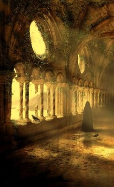 An epic collection of fantasy art for descriptive writing inspiration! Realms, warriors, creatures & characters, we've got 'em all. Fantasy Places, Fantasy World, Fantasy Setting, Fantasy Landscape, Landscape Art, Abandoned Places, Dark Art, Illustration, Creepy