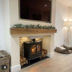 1930s Living Room, Classy Living Room, New Living Room, Oak Beam Fireplace, Home Fireplace, Fireplaces, Farmhouse Fireplace, Fireplace Design, Sitting Room Decor