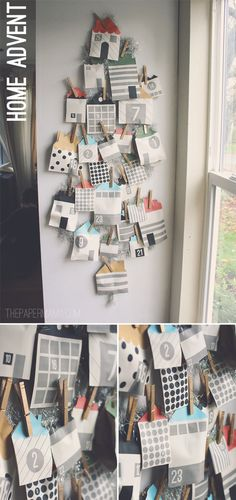 Print out all these cute little homes to create this advent calendar, from The Paper Mama. Christmas Calendar, Christmas Countdown, Christmas Holidays, Christmas Decorations, Xmas, Advent Calenders, Diy Advent Calendar, Countdown Calendar, Calendar Ideas