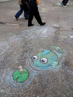 David-Zinn-2014-051 Murals Street Art, 3d Street Art, 3d Street Painting, Amazing Street Art, Street Art Graffiti, Mural Art, Street Artists, David Zinn, Chalk Artist