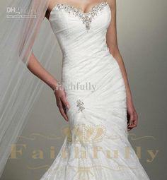 Wedding Dress Sweetheart Corset Back Beaded Sequins RhineStone Lace