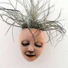 Ceramic Mask Wall Planter Goddess of Good Hair Face