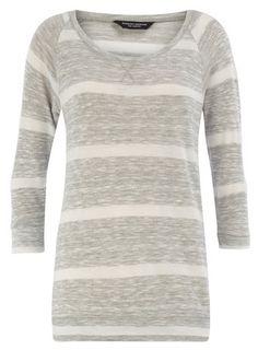 grey/cream 3/4 sleeve knit jumper : dorothy perkins : $35