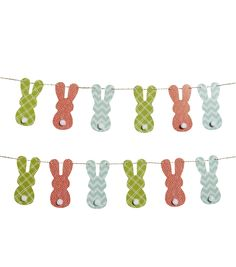Easter Bunny Banner With Pom Poms