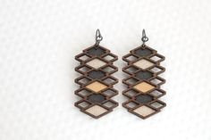 Repeating Diamond Earrings | Graphite, Silver + Bronze / Geometric Wood Jewelry by birdofvirtue on Etsy https://www.etsy.com/listing/213340738/repeating-diamond-earrings-graphite
