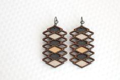 Repeating Diamond Earrings | Graphite, Silver + Bronze / Geometric Wood Jewelry by birdofvirtue on Etsy https://www.etsy.com/listing/213340738/repeating-diamond-earrings-graphite