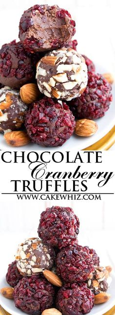 These fudgy and creamy chocolate cranberry truffles are really easy to make with just three basic ingredients. Homemade Candies, Homemade Desserts, Fun Desserts, Delicious Desserts, Dessert Recipes, Easy Chocolate Fudge Cake, Chocolate Recipes, Chocolate Truffles, Cranberry Recipes
