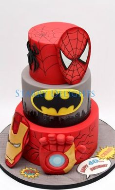 CAke for Birthday party :) Theme was superhero and they chose superman, iron man and batman :) My first 3 tier cake and i included a light in the Iron man hand which was a surprise element of the design :) We really struggled transporting the. Bithday Cake, 1st Birthday Cakes, Superhero Cake, Superhero Birthday Party, Cake 5 Years Old, Ironman Cake, Cakes For Boys, Cake Kids, Spider Cake
