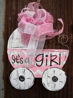 It's A Girl Carriage Door Hanger by WiredupbyMellie on Etsy, $47.00