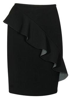 Black carousel new romance ruffled pencil skirt available only at Pernia's Pop Up Shop. Latest Designer Sarees, Designer Dresses, Salwar Kameez, Frilly Skirt, Pernia Pop Up Shop, Fashion Moda, Carousel, Miami, Shop Now