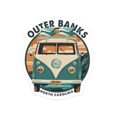 Items similar to Santa Cruz, California - Camper Van - Contour 95317 (Vinyl Die-cut Sticker, Indoor/Outdoor) on Etsy Vintage Stickers, Outer Banks North Carolina, Jeep Wrangler Accessories, Tumblr Stickers, Die Cut, Vivid Imagery, Aesthetic Stickers, Laptop Stickers, Surf Stickers