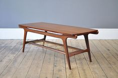 Dutch Mid-Century Coffee Table with Rattan Shelf for sale at Pamono Mid Century Coffee Table, Teak Coffee Table, Coffee Table Design, Decorating Coffee Tables, Center Table Living Room, Shelves For Sale, 70s Decor, Coffee Tables For Sale, Mid Century Modern Living Room