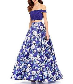 Ellie Wilde Beaded Lace Off-The-Shoulder Top To Floral-Printed Skirt Two-Piece Ball Gown