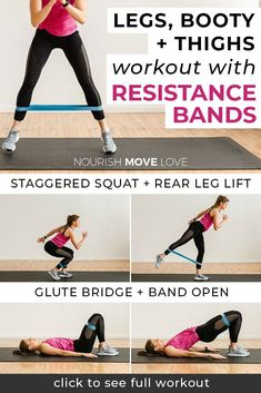 8 Best Resistance Band Exercises for Legs lower body workout legs workout resistance band workout glutes workout for women thigh workout for women Nourish Move Love 7 Workout, Best Leg Workout, Leg Day Workouts, At Home Workouts, Workout Fitness, Total Gym Workouts, Leg Workout Women, Fitness Games, Exercise Workouts