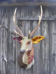 CAROLA VAN DYKE - Animal Heads using vintage fabrics // that's my kind of taxidermy