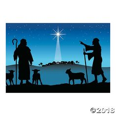 Easily set the scene for your church's next nativity play! This beautiful banner shows two shepherds overlooking a starry Bethlehem as Jesus is born. Christmas Nativity Scene, Christmas Scenes, Christmas Images, A Christmas Story, Christmas Angels, Christmas Art, Nativity Scenes, Nativity Scene Pictures, Outdoor Nativity Scene