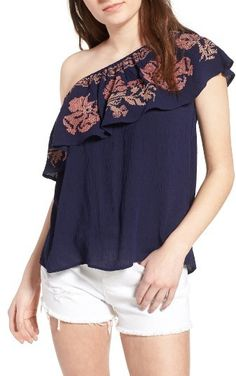 Women's Bohemian Sun & Shadow Embroidered One-Shoulder Top. Perfect for a sunny day out!