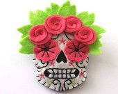 Day of the Dead Felt Brooch Boutonniere