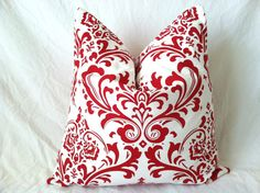 Hey, I found this really awesome Etsy listing at https://www.etsy.com/listing/168704254/red-damask-pillow-covers-one-18-x-18-red