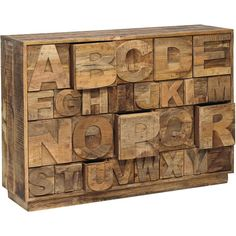 Alphabet chest in distressed old elm with twenty-six compartments of varying sizes.   Product: ChestConstruction Mate...
