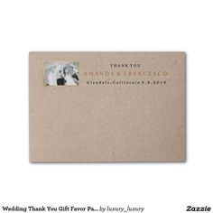 Wedding Thank You Gift Favor Paper Kraft Post-it® Notes