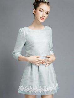 Pale Blue 3/4 Sleeve Contrast Lace Combo Dress -SheIn(abaday)