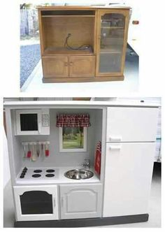 repurposing furniture for kiddie kitchen-- great way to convert old television…