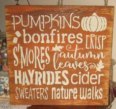 Pumpkins bonfires......handmade wall by hilltopprims on Etsy