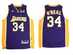 Adidas NBA Los Angeles Lakers 34 Shaquille O'Neal New Revolution 30 Swingman Purple Jersey