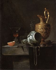 Willem Kalf (1619-1693): Kalf was the leading still-life painter in Holland in the mid-17th century. His mature still-life works are of a type called 'Pronkstilleven' in Dutch, meaning 'ostentatious still life' and referring to the display of lavish man-made objects.