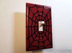 Spider Webbing Light Switch Plate - Red and Black Webs Version By DeeplyDapper Light Switch Plates, Light Switch Covers, Superhero Room, Idee Diy, Man Room, Bedroom Themes, Bedroom Ideas, My New Room, Bunt