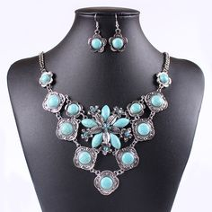 Chic Turquoise Drill Decor Flower Shape Design Earrings Necklace Women Ladies Jewelry Sets