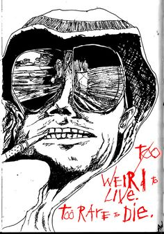 Ralph Steadman style sketch of the Fear and Loathing movie cover