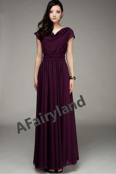 Grape Colored Bridesmaid Dresses Chiffon