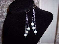 Earrings with white cultured pearls and by dianakcreativejewels, $18.00