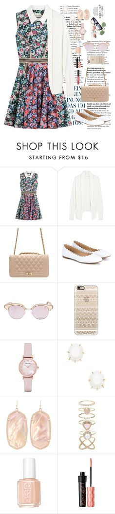 """Cute Cardigan with spring dress"" by ap6602 ❤ liked on Polyvore featuring Mary Katrantzou, American Vintage, Chloé, Le Specs, Casetify, Emporio Armani, Kendra Scott, Accessorize, Essie and Benefit"