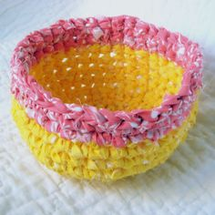 Banana Coral Rag Basket  Crochet Fabric by NewEnglandQuilter