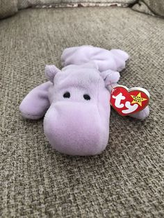 8883545566a RARE Ty Beanie Baby Happy The Hippo Retired Original 1994 Lavender