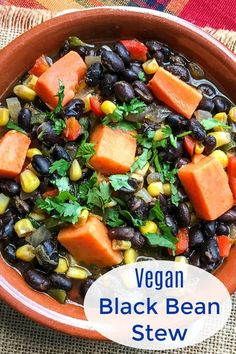 Vegan Black Bean Stew Recipe #veganstew Vegan Dinner Recipes, Vegan Dinners, Fall Recipes, Vegetarian Recipes, Healthy Recipes, Healthy Eats, Bean Soup Recipes, Vegetable Soup Recipes, Chowder Recipes